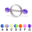 Nipple ring with acrylic layered balls, 14 ga or 12 ga