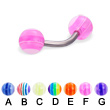 Titanium curved barbell with acrylic layered balls, 14 ga