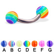 Titanium curved barbell with acrylic layered balls, 12 ga