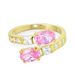 10K Real Gold Toe Ring with Pink And Clear Gems