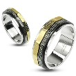 316L Stainless Steel Black & Gold IP Maze Dual Spinner Ring