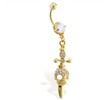 Gold Tone Navel Ring with Dangling Skull And Sword