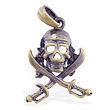 Bronze colored skull and cross bones pirate pendant