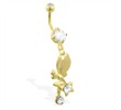 Gold Tone belly ring with dangling tinkerbell