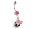 Navel ring with dangling girly skull with bow