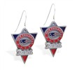 Mspiercing Sterling Silver Earrings With Official Licensed Pewter NFL Charm, New England Patriots