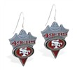 Mspiercing Sterling Silver Earrings With Official Licensed Pewter NFL Charm, San Francisco 49Ers