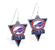 Mspiercing Sterling Silver Earrings With Official Licensed Pewter NFL Charm, Buffalo Bills
