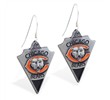 Mspiercing Sterling Silver Earrings With Official Licensed Pewter NFL Charm, Chicago Bears