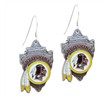 Mspiercing Sterling Silver Earrings With Official Licensed Pewter NFL Charm, Washington Redskins