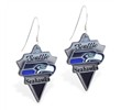 Mspiercing Sterling Silver Earrings With Official Licensed Pewter NFL Charm, Seattle Seahawks
