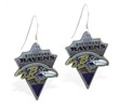 Mspiercing Sterling Silver Earrings With Official Licensed Pewter NFL Charm, Baltimore Ravens