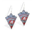 Mspiercing Sterling Silver Earrings With Official Licensed Pewter NFL Charm, Tampa Bay Buccaneers