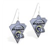 Mspiercing Sterling Silver Earrings With Official Licensed Pewter NFL Charm, St. Louis Rams