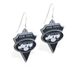 Mspiercing Sterling Silver Earrings With Official Licensed Pewter NFL Charm, New York Jets