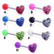 Straight Barbell With Acrylic Ball And Tiger Print Heart Top, 14 Ga