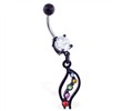 Black coated belly ring with wavy rainbow dangle