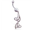 Belly ring with double jeweled open heart dangle