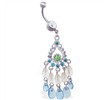 Jeweled belly ring with aquamarine chandelier dangle