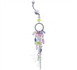 Dangling circle jeweled belly ring with chains and stones
