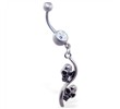 Jeweled belly ring with double skull dangle