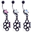 Black coated jeweled belly ring with dangling jeweled brass knuckles