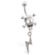Steel skull belly ring with dangling lightening bolt