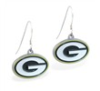 Mspiercing Sterling Silver Earrings With Official Licensed Pewter NFL Charm, Green Bay Packers