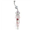 Navel ring with pink jeweled chandelier dangle