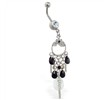 Navel ring with dangling black jeweled chandelier