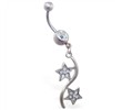 Belly ring with double pave jeweled star dangle