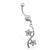 Jeweled belly button ring with double pave jeweled star dangle