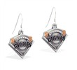 Mspiercing Sterling Silver Earrings With Official Licensed Pewter MLB Charms, San Francisco Giants
