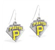Mspiercing Sterling Silver Earrings With Official Licensed Pewter MLB Charms, Pittsburgh Pirates