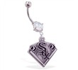 Belly Ring with official licensed MLB charm, Chicago White Sox