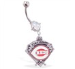 Mspiercing Belly Ring with Official Licensed MLB Charm, Cincinnati Reds