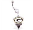 Mspiercing Belly Ring with Official Licensed NFL Charm, Green Bay Packers