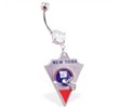 Belly Ring with official licensed NFL charm, New York Giants
