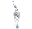 Jeweled chandelier belly ring with turquoise stones