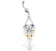 Belly ring with butterfly chandelier dangle