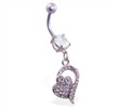 Navel ring with jeweled heart dangle