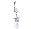 Belly ring with dangling jeweled star and large gem