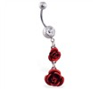 Navel ring with double rose dangle