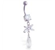Navel ring with dangling jeweled flower and crystal