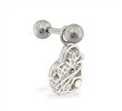 Steel cartilage barbell with jeweled