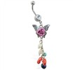 Belly ring with multi-color rose butterfly dangle