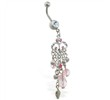 Flower chandelier dangling jeweled belly ring with pink stones