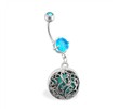 Jeweled Belly Ring With Dangling Medallion