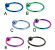Titanium anodized captive bead ring, 18 ga