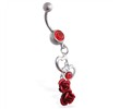 Belly ring with dangling open hearts and roses